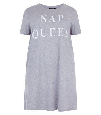 Curves Grey Nap Queen Night Shirt New Look