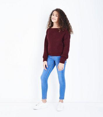 Girls , Jean skinny bleu vif à taille haute
