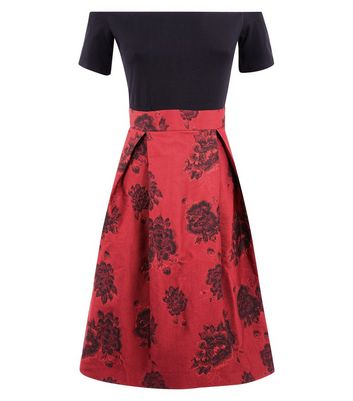 AX Paris Red Floral Skirt Bardot Neck Dress New Look