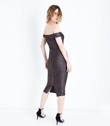 AX Paris Black Glitter Bardot Neck Midi Dress New Look