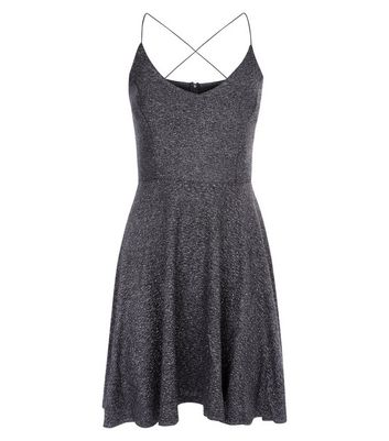 AX Paris Black Glitter Strappy Skater Dress New Look