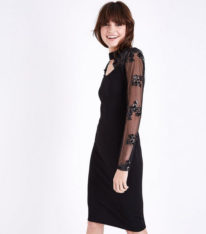 8d4791c2d2e AX Paris Black Sequin Mesh Sleeve Midi Dress