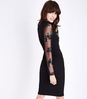AX Paris Black Sequin Mesh Sleeve Midi Dress New Look