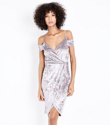 AX Paris Grey Crushed Velvet Wrap Front Dress