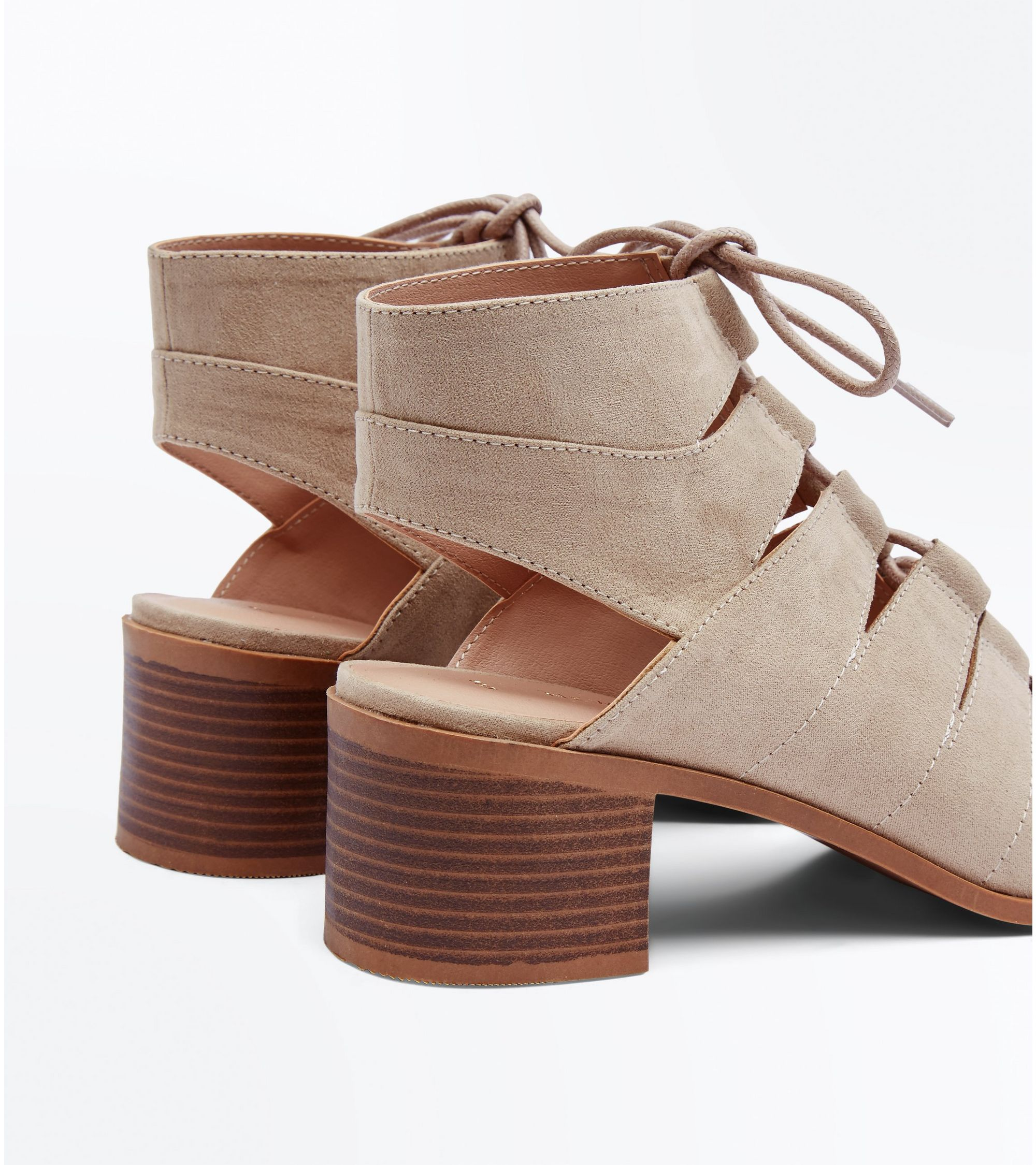 dc86bd8a0483 New Look Light Brown Suedette Low Block Heel Ghillie Sandals at ...
