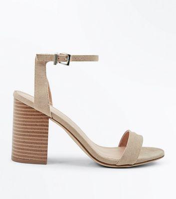Light Brown Suedette Wooden Block Heels New Look