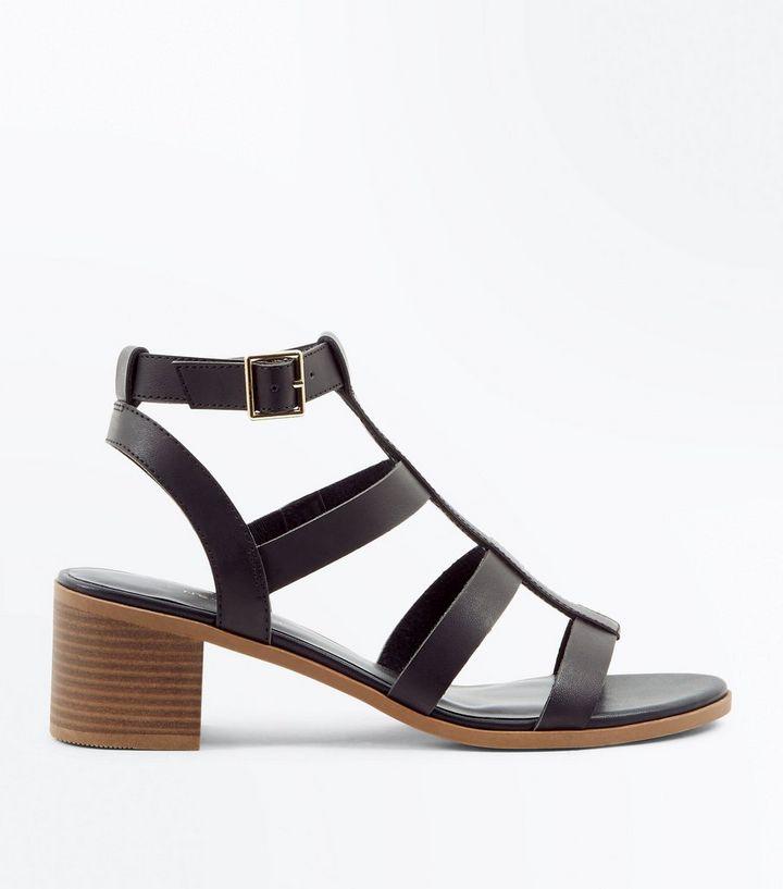 84b83a933bea Black Low Block Heel Gladiator Sandals