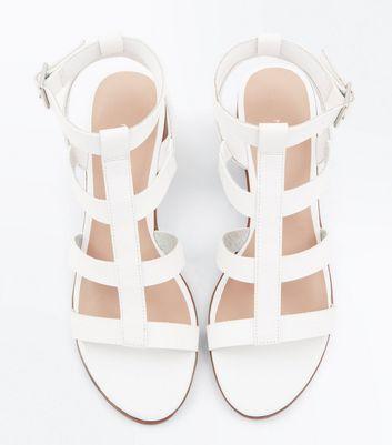 White Low Block Heel Gladiator Sandals New Look
