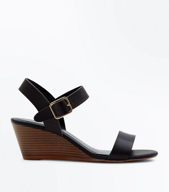2d12ec31b1 Black Low Wooden Wedge Heel Sandals   New Look