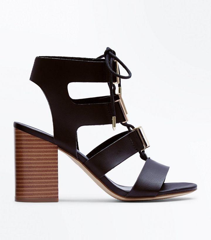 6414fa50b6e Black Lace Up Wooden Block Heel Sandals