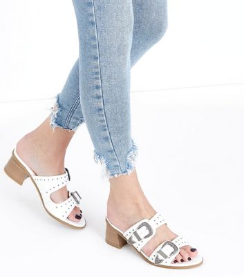 White Studded Western Buckle Mules New Look