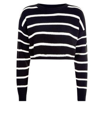 Black Stripe Cropped Jumper New Look