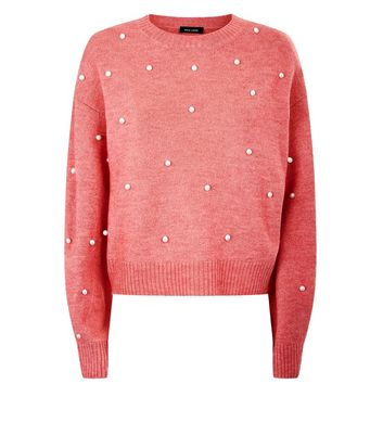 Pink Pearl Embellished Jumper New Look