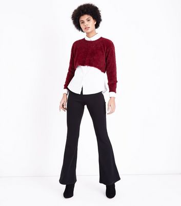 Burgundy Fluffy Crop Jumper New Look