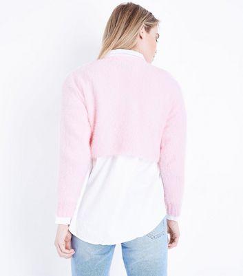 Shell Pink Fluffy Crop Jumper New Look