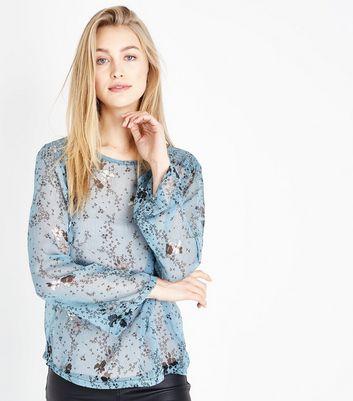 JDY Pale Blue Floral Print Long Sleeve Blouse New Look