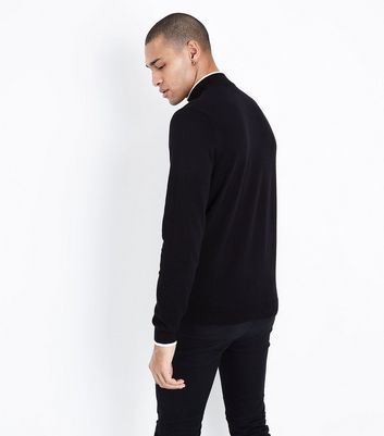 Black Tipped Funnel Neck Jumper New Look