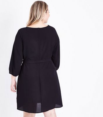 Curves Black Balloon Sleeve Belted Tunic Dress New Look