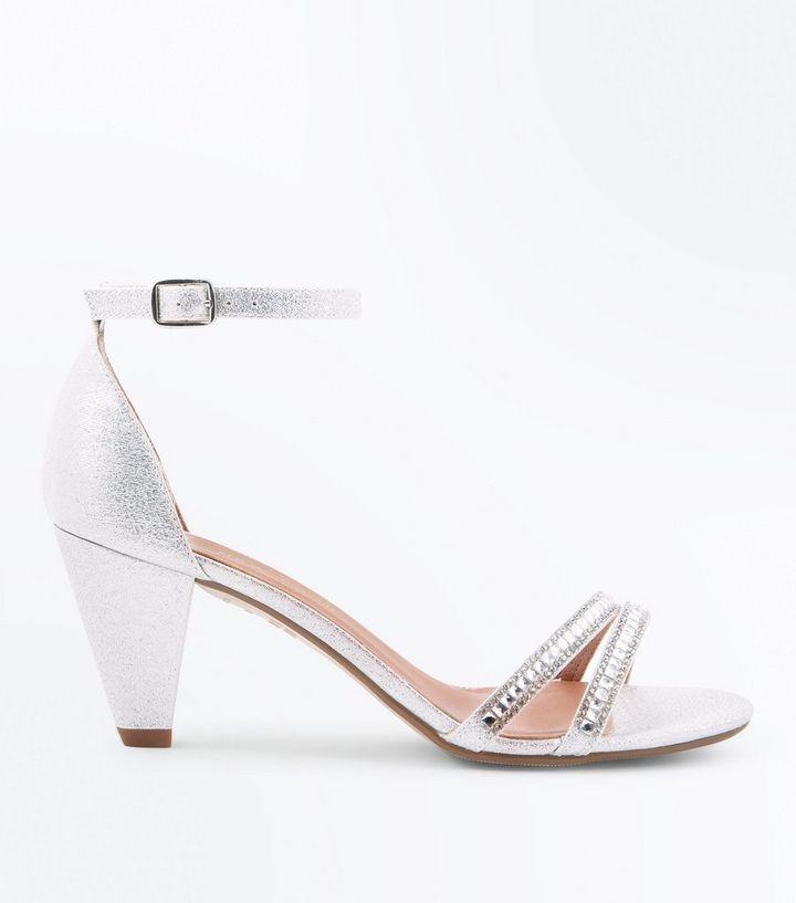 90ff69bf768 Girls Silver Glitter Diamanté Embellished Heels