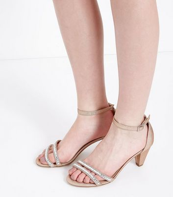 Teens Rose Gold Glitter Diamante Embellished Heels New Look