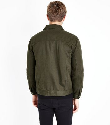 Khaki Collared Denim Jacket New Look