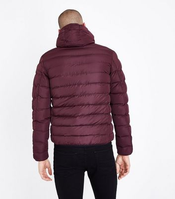Burgundy Puffer Jacket New Look