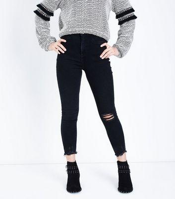 Teens Black Knee Ripped Skinny Jeans New Look