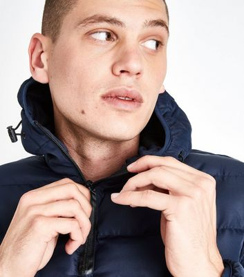 Navy Puffer Overhead Jacket New Look