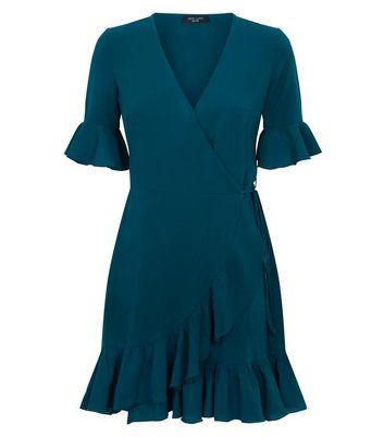 Petite Dark Green Frill Trim Wrap Front Dress New Look