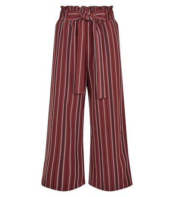 Petite Red Stripe Paperbag Waist Culottes New Look