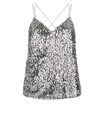 Silver Sequin Double Strap Cami New Look