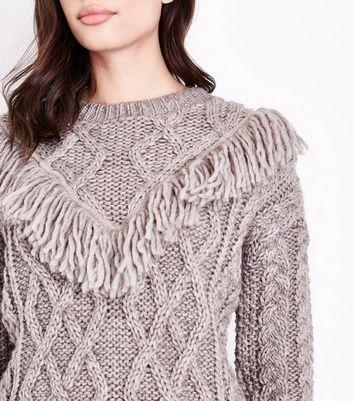 Stone Italian Yarn Fringe Yoke Cable Knit Jumper New Look