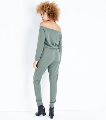 Khaki Jersey Bardot Neck Jumpsuit New Look