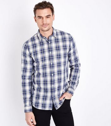 Blue Cotton Check Shirt New Look