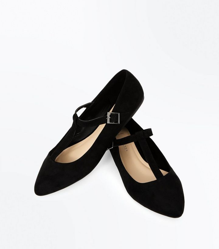 741221a241f Wide Fit Black Suedette T-Bar Pointed Pumps Add to Saved Items Remove from  Saved Items