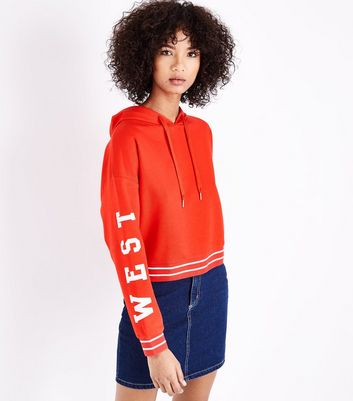 Red West Coast Sleeve Print Hoodie New Look