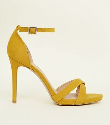 Wide Fit Yellow Suedette Cross Strap Heeled Sandals