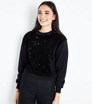 Black Sequin Front Sweatshirt New Look