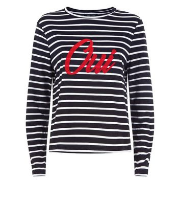 Black Stripe Oui Print Long Sleeve T-Shirt New Look