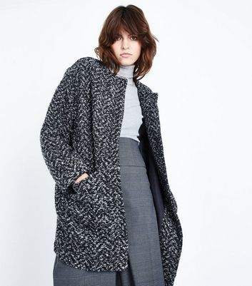 Black Boucle Cocoon Coat New Look