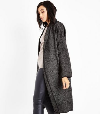 Black Herringbone Longline Coat New Look