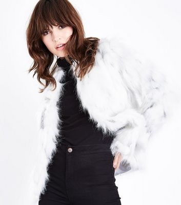 White Two Tone Faux Fur Jacket New Look