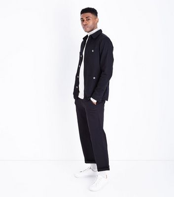 Black Button Front Shacket New Look