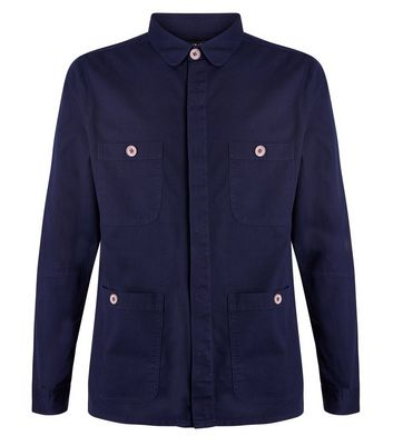 Navy Button Up Shacket New Look