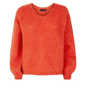 Orange Fluffy V Neck Jumper New Look