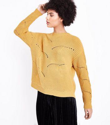Yellow Swirl Stitch Jumper New Look