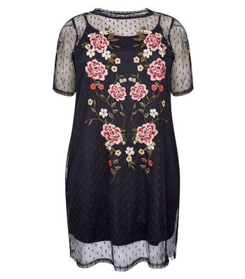 Curves Black Floral Embroidered Spot Mesh Dress New Look
