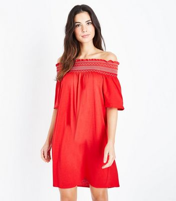 Red Shirred Bardot Neck Beach Dress