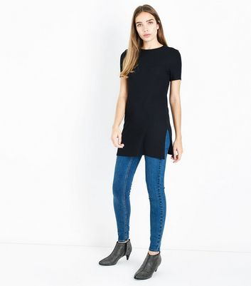 Black Ribbed Tunic Top New Look