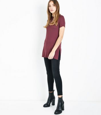 Burgundy Ribbed Tunic Top New Look